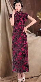 Cup-sleeve Long-length Gorgeous Cheongsam (RM)