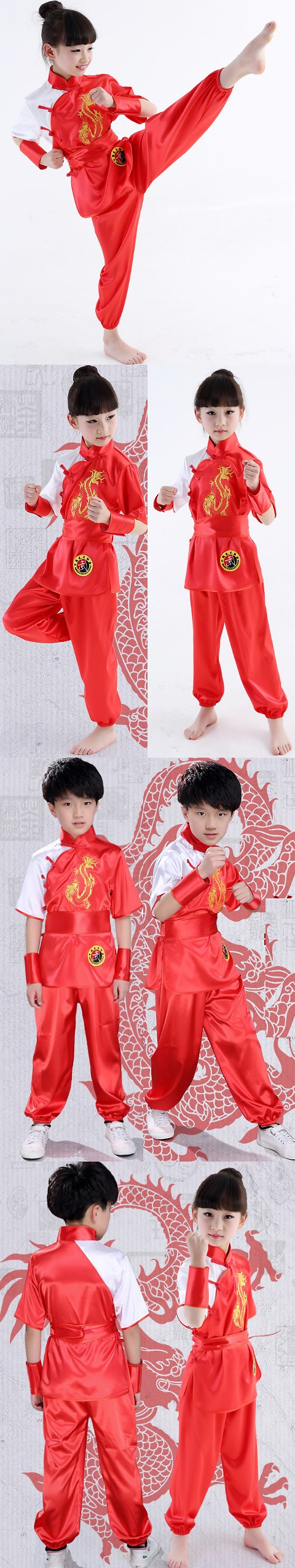 Kid's Dragon Embroidery Kung Fu Uniform with Sash (RM)