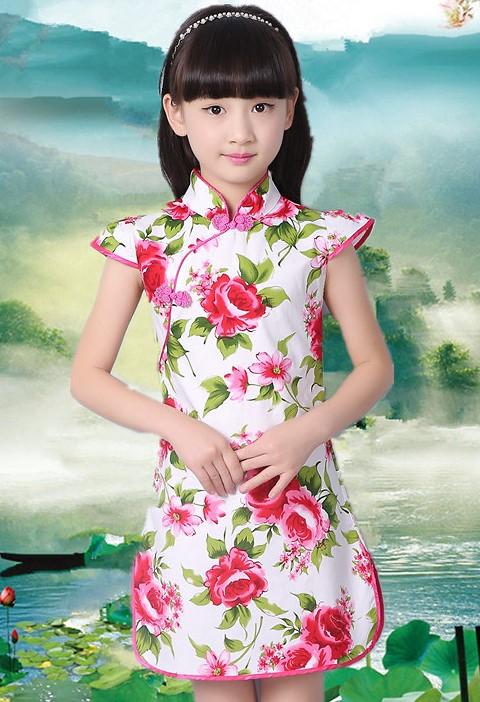 Girl's Floral Cheongsam Dress (RM)