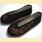 Boy's Dragon Embroidery Round Opening Cloth Shoes