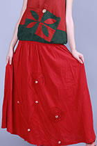 Ethnic Cotton Linen Skirt with Applique and Beading (RM)