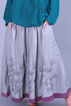 Ethnic Cotton Linen Large Lap Embroidery Skirt (RM)