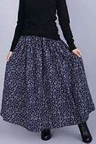 Ethnic Small Floral Print Cotton Linen Skirt (RM)