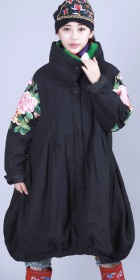 Ethnic Wadded Large Collar Dress Coat - Black (RM)