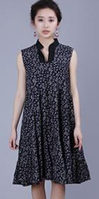 Ethnic Floret Large Lap Dress - Dark Blue (RM)