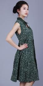 Ethnic Floret Large Lap Dress - Dark Green (RM)