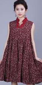 Ethnic Floret Large Lap Dress - Dark Red (RM)