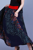 Ethnic Patching Fabric Large Lap Long Skirt (RM)