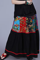 Ethnic Patching Fabric Large Lap Skirt - Black (RM)