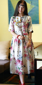 Ethnic Printed Short-sleeve Cotton Linen Dress (RM)