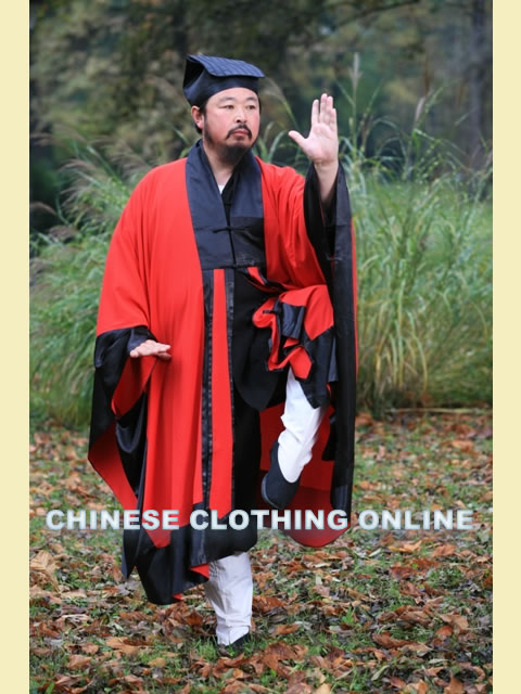 Wudang Taoist Long Manteau Robe with Purfle (dual-color) (CM)