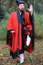 武當道士鑲邊外披長袍-雙色(定做)
