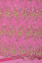 Fabric - See-through Embroidery Gauze w/ Paillettes (Pink)