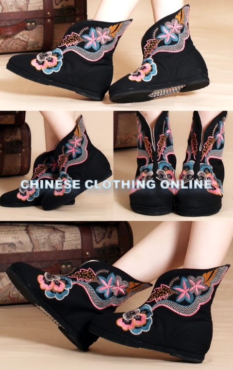 Low Heel Floral Embroidery Mid Height Boots (Black)