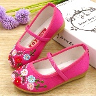 Girl's Flower Embroidery Shoes (Fuchsia)
