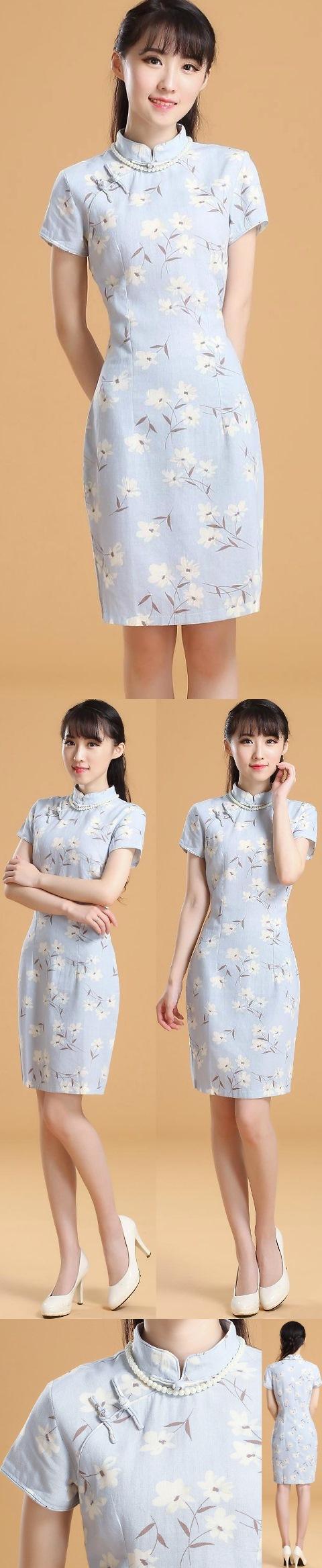 Mid-length Linen Printing Cheongsam Dress (RM)