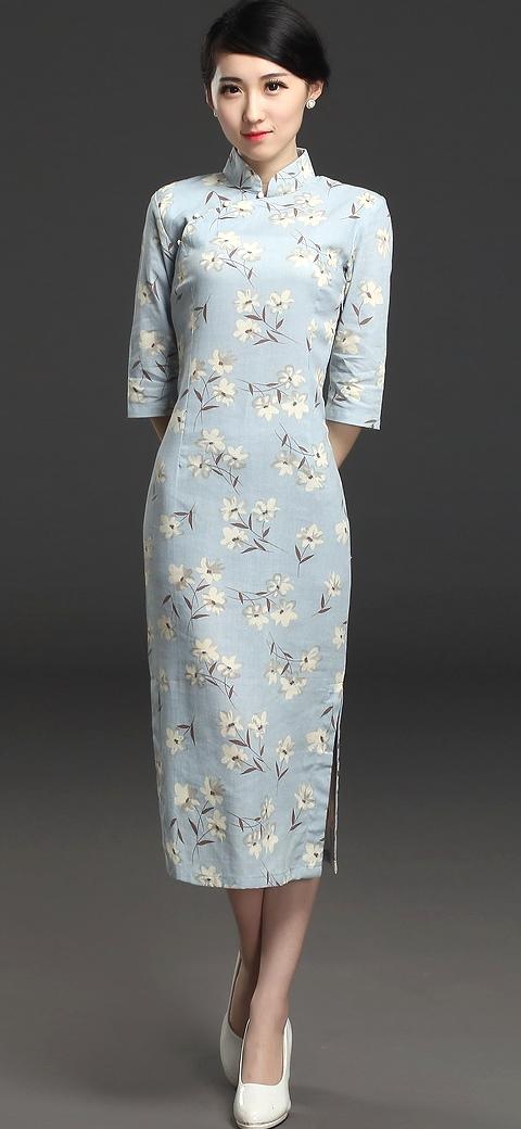 Long-length 3/4-sleeve Linen Printing Cheongsam Dress (RM)