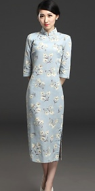 Long-length 3/4-sleeve Linen Printing Cheongsam Dress (RM)