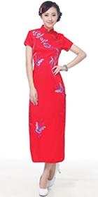 短袖長身刺繡旗袍 (成衣)