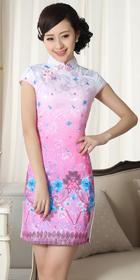 Bargain - Cup-sleeve Short-length Printing Cheongsam (RM)