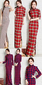 Long-length Cotton Yarn-dyed Checks Cheongsam Dress