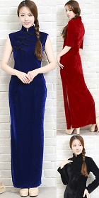 Long-length Velvet Cheongsam Dress