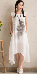 Ethnic Floral Printing Sleeveless Dress (RM)