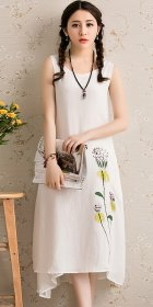 Ethnic Floral Printing Sleeveless Long Dress (RM)