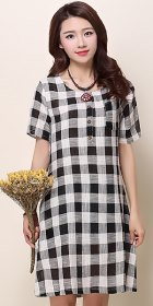 Ethnic Short-sleeve Yarn-dyed Checker Dress - White (RM)