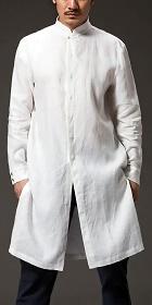 Standing Collar Linen Cotton Long Coat (CM)