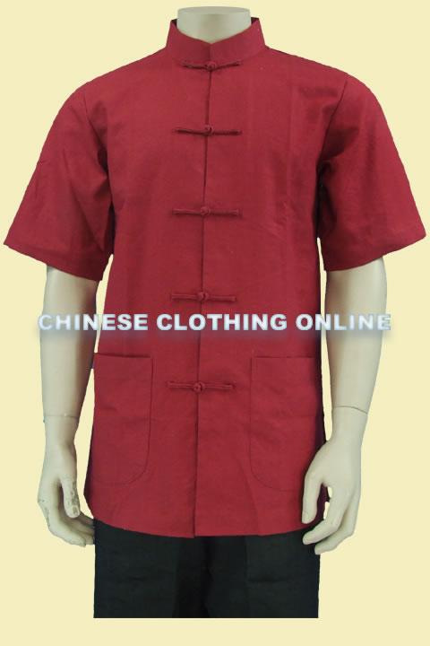 Short-sleeve Plain Mandarin Shirt (CM)