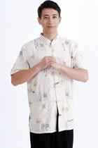 Short-sleeve Ruyi Mandarin Shirt - Beige (RM)