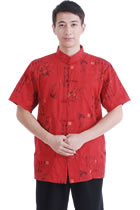Short-sleeve PLum Blossoms Mandarin Shirt - Red (RM)