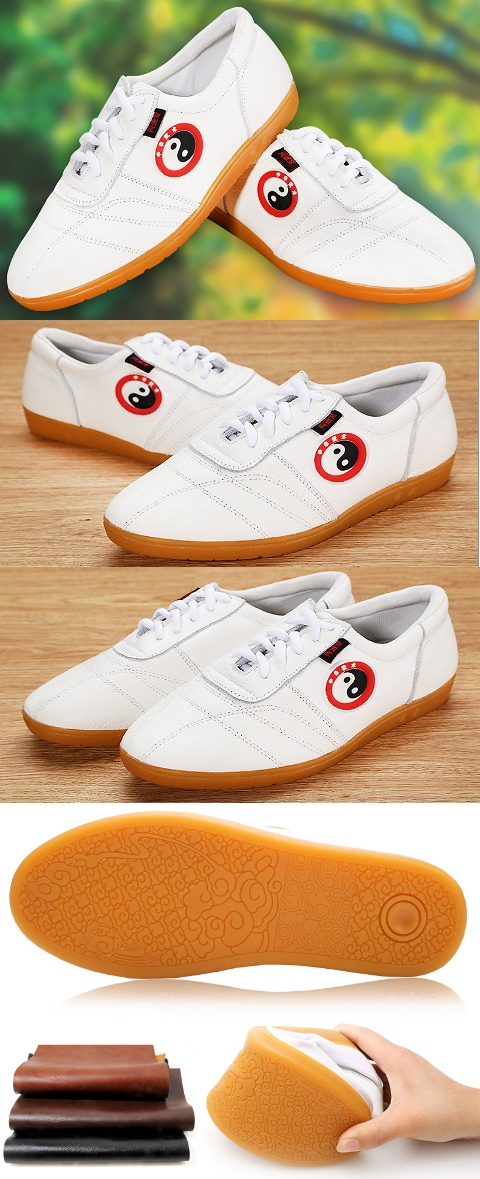 Professional Taichi Embossed Cowhide Sneakers (White)