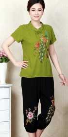 Peacock Embroidery Short-sleeve Suit (RM)