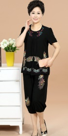 Peacock Eye-spotted Embroidery Short-sleeve Suit (RM)