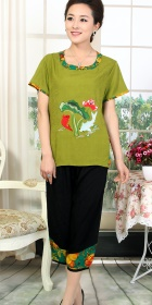 Carp and Lotus Embroidery Short-sleeve Suit (RM)