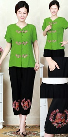 Plum Blossom Embroidery Short-sleeve Suit (RM)