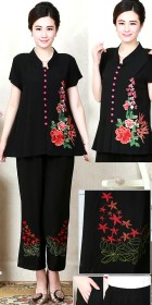 Mudan Peony Embroidery Short-sleeve Suit (RM)