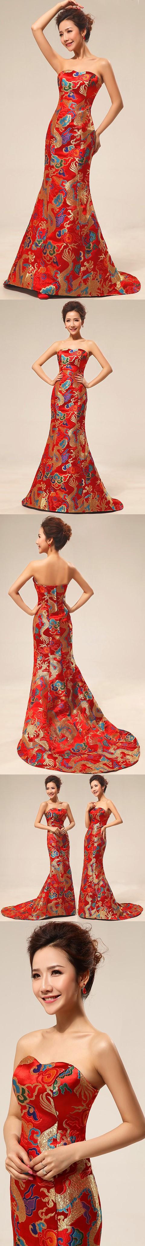 Bare-shoulders Dragon Robe Prom Dress (RM)