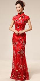 碗袖長身新娘旗袍(成衣)