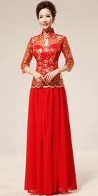 六分袖長身新娘旗袍(成衣)