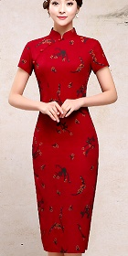 長身亞麻印花旗袍 (成衣)