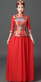 3/4-sleeve Long-length Prom/Bridal Cheongsam (RM)