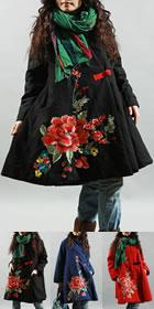 民族風情斗篷款刺繡棉大衣 (成衣)