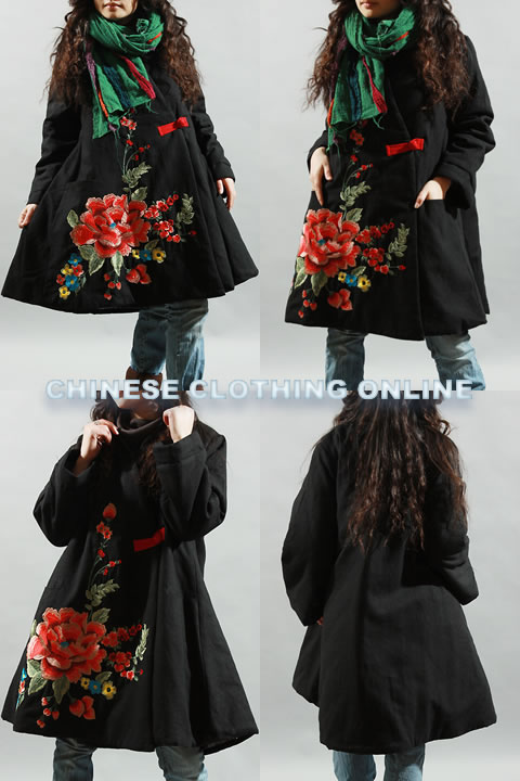 Ethnic Cloak Style Wadded Embroidery Coat (RM)