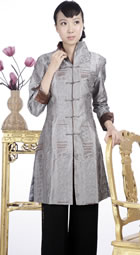 Embossed Embroidery Mandarin Coat (Silver)