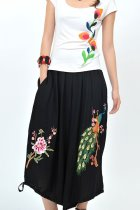 Dual-layer Peacock Embroidery Pants (Black)