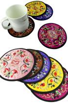 Chinese Ethnic Embroidery Coaster (4 pcs)
