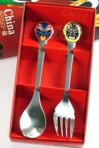 Stainless Steel Cutlery Set w/ Beijing Opera Mask handle